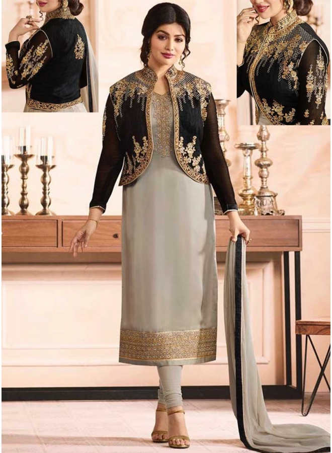 Ayesha Takia Grey n Black Embroidery Multi Work Georgette Designer Salwar kameez